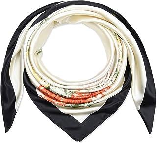 35 بوصة 90 سم أوشحة شعر مربعة حريرية للنساء أغطية للرأس عاجي أسود زهرة