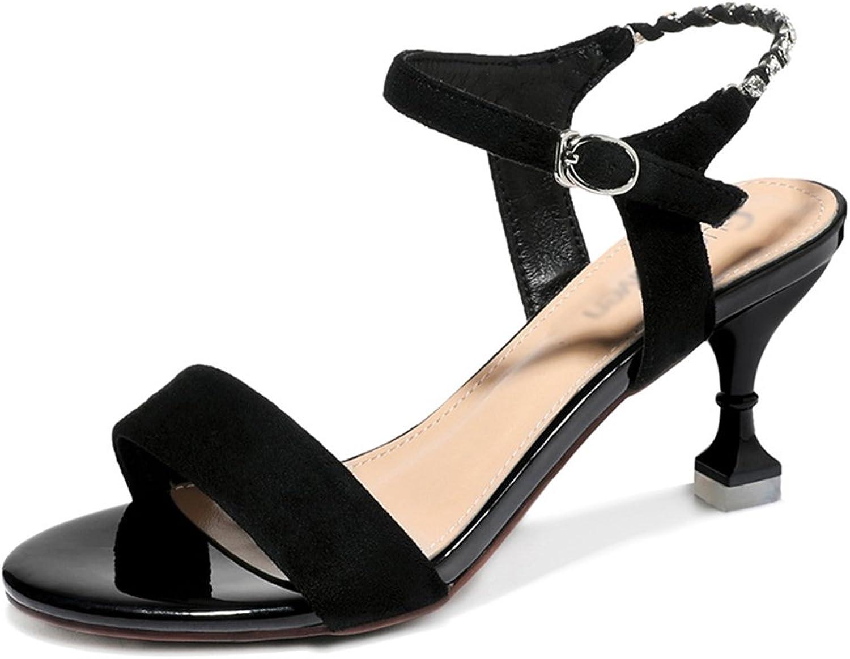 Summer Sandals Female Women's shoes High Heels (color   Black, Size   37)