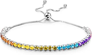 Kate Lynn Christmas Bracelets Gifts for Women Seven Colorful Swarovski Crystals 925 Sterling Silver Adjustable Tennis Bangle Bracelets with Gift Box, Soft Cloth