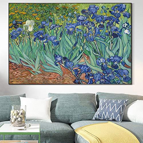 wZUN Il Fiore di Iris di Van Gogh su Tela murale Art Poster e Stampe La Famosa Opera d'Arte di Van Gogh Soggiorno murale 50x70cm