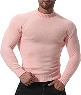 ZXFHZS Men Stripe Fashion Tops Long Sleeve T-Shirt Turtleneck Slim Fit Shirt