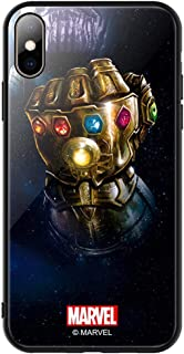 iPhone各機種対応 マーベル MARVEL 海外正規品 背面ガラス TPUバンパーケース (iPhone XR, サノス グローブ) [並行輸入品]