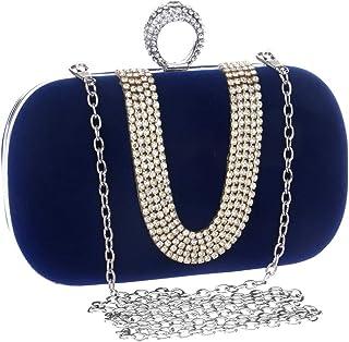 ハンドバッグ レディース ショルダーバッグ 女性のラインストーン宴会袋U字型ハンドイブニングバッグファッション トートバッグ (色 : A)