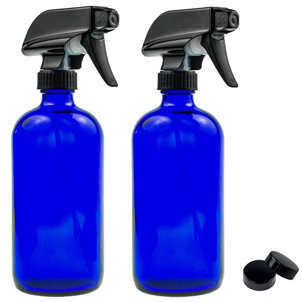 Empty Blue Glass Spray Bottle - Large 16 oz Refillable Container for Essential Oils, Cleaning Products, or Aromatherapy - Black Trigger Sprayer w/Mist and Stream Settings - 2 Pack
