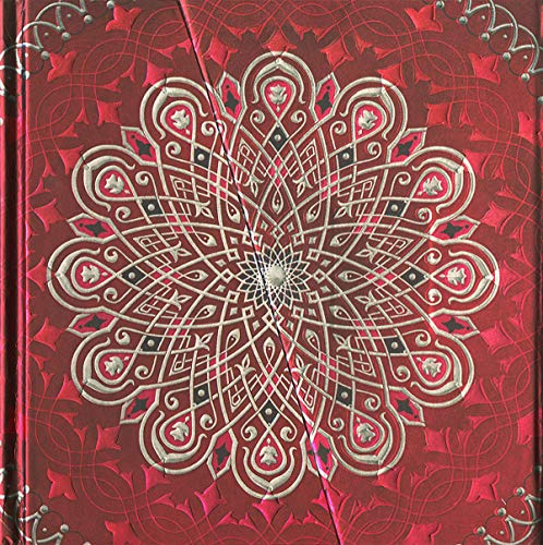 Boncahier 104011 Notizbuch 17.5 x 17.5 cm, 144 Seiten, blanco, Mandalas Motiv, rot/silber