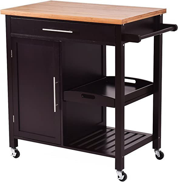 Giantex Rolling Wood Kitchen Island Trolley Cart Bamboo Top Storage Cabinet Utility