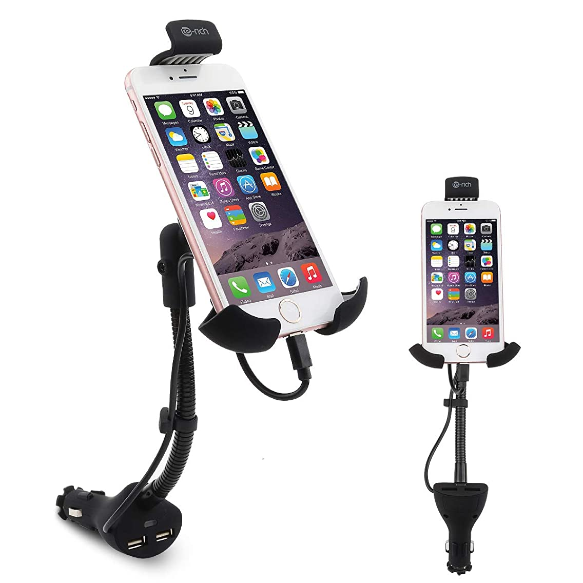 Te-Rich 2-in-1 Cigarette Lighter Smartphone Car Mount Charger Auto Cell Phone Holder Cradle - Built-in Charging Cable Compatible w/iPhones - Dual USB, 3.1A Max