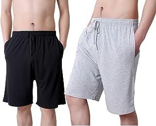 TEERFU Mens Twin Pack Lounge Shorts Stretch Jersey Sleep Night Wear Modal Pyjamas Bottoms Casual Jogging Pants
