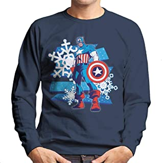 MARVEL Christmas Captain America ICY Snowflakes Men's Sweatshirt