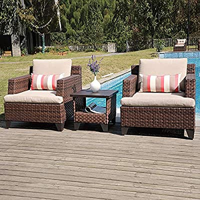 SUNSITT Deluxe Woven 3-Piece Patio Conversation Set Lounge Chairs and Side Table w/Aluminum Top, Beige Olefin Fabric Cushions & Brown Wicker