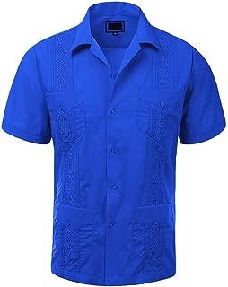 Maximos Men's Cuban Guayabera Short Sleeve Button-Up Casual Embroidered Shirt