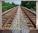 ABAKUHAUS Vías de Tren Cortinas, Foto Paralelo ferrocarril, Sala de Estar Dormitorio Cortinas Ventana Set de Dos Paños, 280 x 260 cm, Multicolor