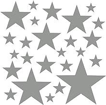 PREMYO 25 Estrellas Pegatinas Pared Infantil - Vinilos Decorativos Habitación Bebé Niños - Fácil de Poner Gris