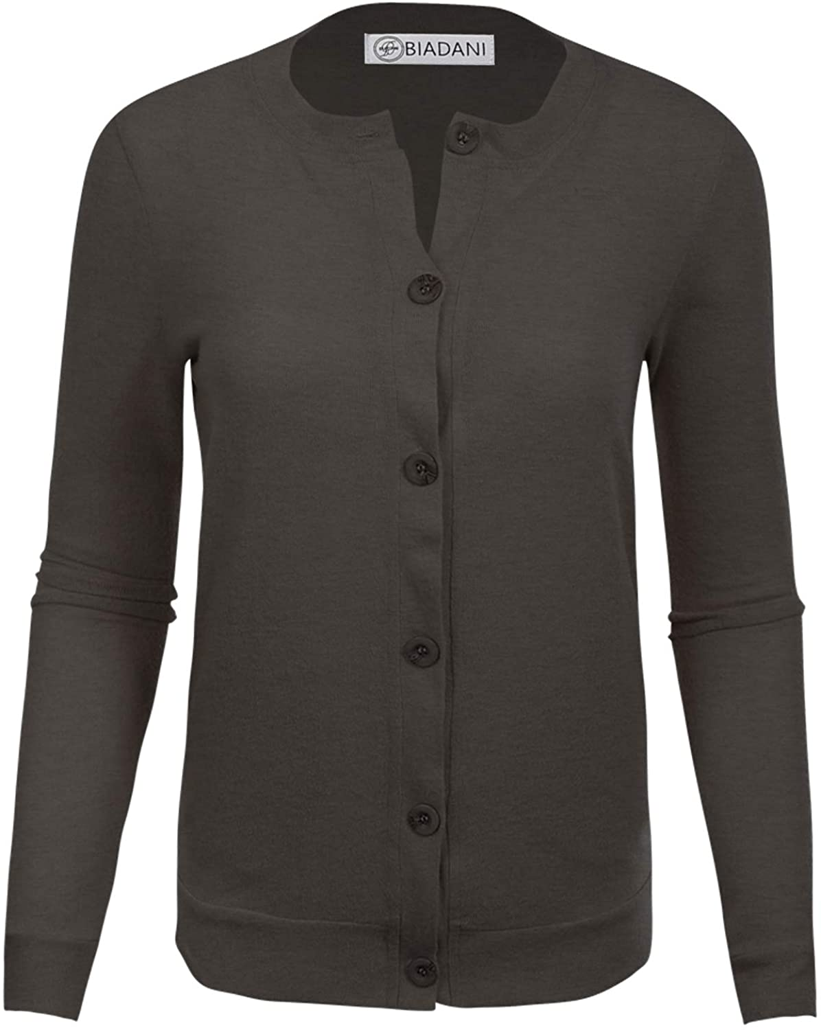 BIADANI Women Button Down Long Easy-to-use V-Neck Cardigan Soft NEW Sleeve Sweat