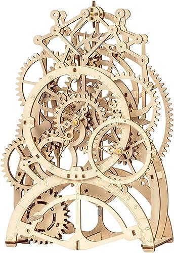 Lhcar DIY 3D Holz Puzzle Mechanische Zahnradantrieb Pendeluhr Montage Modellbau Kit Spielzeug für Kinder Erwachsene