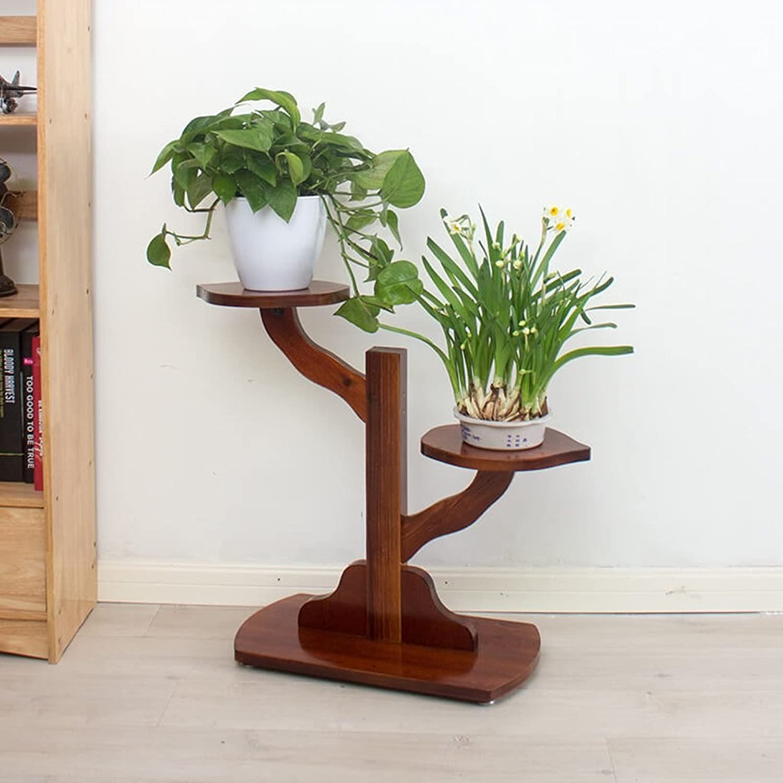 GJM Shop Tree Shape Wooden Flower Stand Living Room Multilayer Floor-Standing Flower Rack (Size   70  28  62cm)