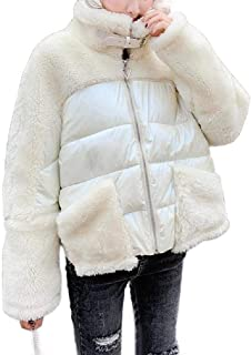 EnergyWD Women's Long Sleeve Stitching Solid Padded Coat Loose Worsted Jacket