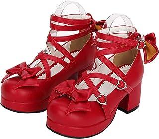 [Cnstone] 6cm ロリータパンプス ロリータ靴 トリプルリボンパンプス ロリィタ靴 ベルト おでこ リボン 蝶結び 太ヒール スムース メイド靴 レット 赤 ロリータジーンズ ストラップパンプス お嬢様 お姫様 レディース 9803