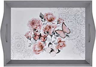 GB HOME COLLECTION Decorative Wooden Serving Tray with Floral Art, Breakfast Tray for Carrying Drinks Letters Mail, 15 x 11 in (38 x 28 cm) Display Piece, Modern Design