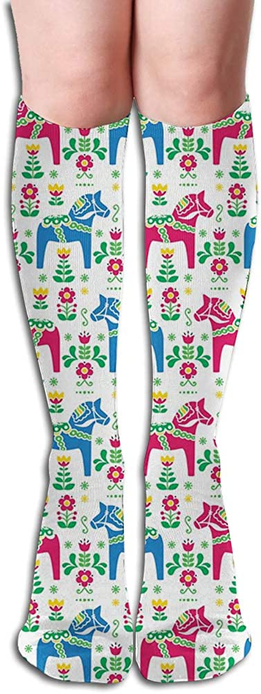 Men's and Women's Funny Casual Combed Cotton Socks,Hand Drawn Style Colorful Bedding Plants Roses and Wildflowers with Little Dots (56)