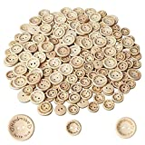 300 Pezzi Handmade with Love Bottone in legno - 15mm 20mm 25mm Bottoni in legno con forma tonda per decorazioni di cucito e lavorazione
