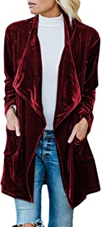 Women's Solid Long Sleeve Velvet Jacket Open Front Cardigan Coat with Pockets Outerwear