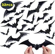 Enjoyxo 3D Bats Stickers Halloween Wall Decoration Window Decor Scary Bats Party Supplies, 32pcs, Black