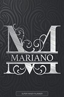 Mariano: Monogram Silver Letter M The Mariano Name - Mariano Name Custom Gift Planner Calendar Notebook Journal