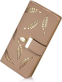 PGXT Women's Long Leather Card Holder Purse Zipper Buckle Elegant Clutch Wallet