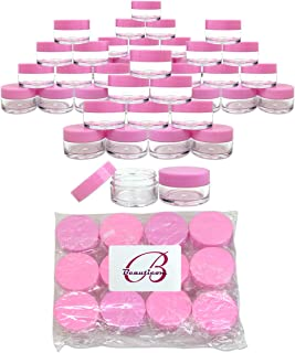 Beauticom 20 gram/20ml Empty Clear Small Round Travel Container Jar Pots with Lids for Make Up Powder, Eyeshadow Pigments, Lotion, Creams, Lip Balm, Lip Gloss, Samples (48 Pieces, Pink)