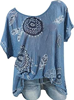 2bbecf634fe Botrong Women's Round Collar Printed Sequins Short Sleeve Tops
