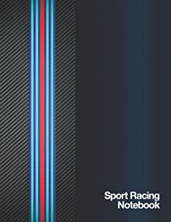 Sport Racing Notebook: Journal Diary Maintenance Log 120 Pages (60 sheets) Wide Lined Composition White Paper Carbon Fiber...