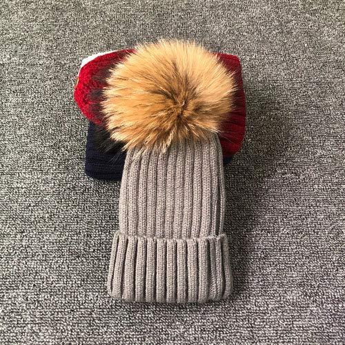 Sombrero de Invierno con Pompones para Mujer, Sombrero de Invierno para Mujer, Gorro de niña, Gorros Tejidos, Gorro, Gorros Gruesos para Mujer-Gray with fur-1-kid Size