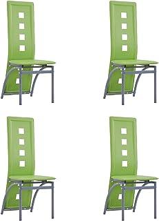 pedkit Sillas de Comedor Sillas Cocina Sillas Salon 4 Unidades Cuero sintético Verde