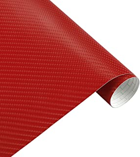 Mrcartool 4D Car Vinyl Wrap Carbon Fiber Sheet Wrap Roll Waterproof Vehicle Sticker Film Wrapping Decals Exterior & Interior DIY Decoration for Phone/Car/PC/Motorcycle/Bicycle/Guitar(15250cm) (Red)