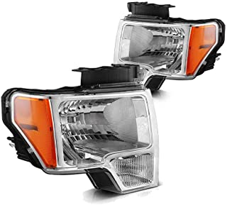Replacement Headlight Assembly GFDPU09-A2 for 2009 2010 2011 2012 2013 2014 Ford F-150 Pickup Chrome Housing Clear Lense wIth Chrome Trim Headlamps Driver Side And Passanger Side DL3Z13008A DL3Z13008B