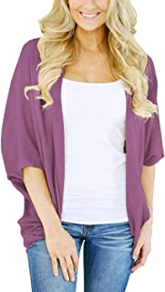 Lightweight Summer Cardigan for Women 3/4 Sleeve Solid...