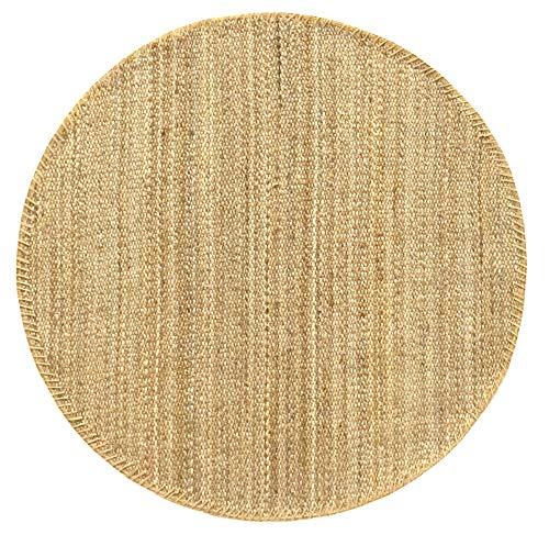 HAMID - Alfombra de Yute Granada Redonda 100% Fibra de Yute Natural - Alfombra Suave - Tejida a Mano - Alfombra de Salón, Dormitorio, Terraza, Entrada - Natural (150x150cm)