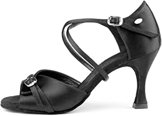 PortDance Mujeres Zapatos de Baile PD636 Premium - Satén Negro - 5 cm Flare
