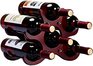 Anberotta 木製 ワインラック ホルダー ワイン シャンパン ボトル ウッド 収納 ケース スタンド インテリア W32 (6本収納)