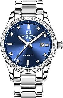Women's Diamond Automatic Mechanical Rose Gold Stainless Steel Sapphire Waterproof Lady's Elegant Blue Watch