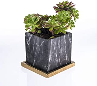 HELLO BOY Indoor and Outdoor Grey Flower Pot, Modern Marbling Square Design Cement Plant Pot for Succulent/Cactus/Flowers with Drainage Hole and Plate