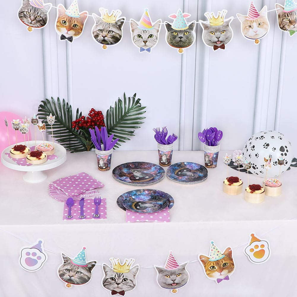 141 Pc Purrfectly Kitty Cat Birthday Tableware Celebration Set With Matching Table Cover /& Balloons! Service For 16!!