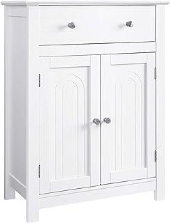 VASAGLE Armario para baño con cajón y balda Ajustablecon Estilo rústico Madera Blanco 60 x 30 x 80 cm BBC61WT