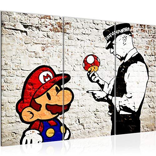 Runa Art Mario Et Le Flic Banksy Peinture Tableau Salon XXL Gris Art Urbain 120 x 80 cm 3 Parties Decoracion Murale 303031a