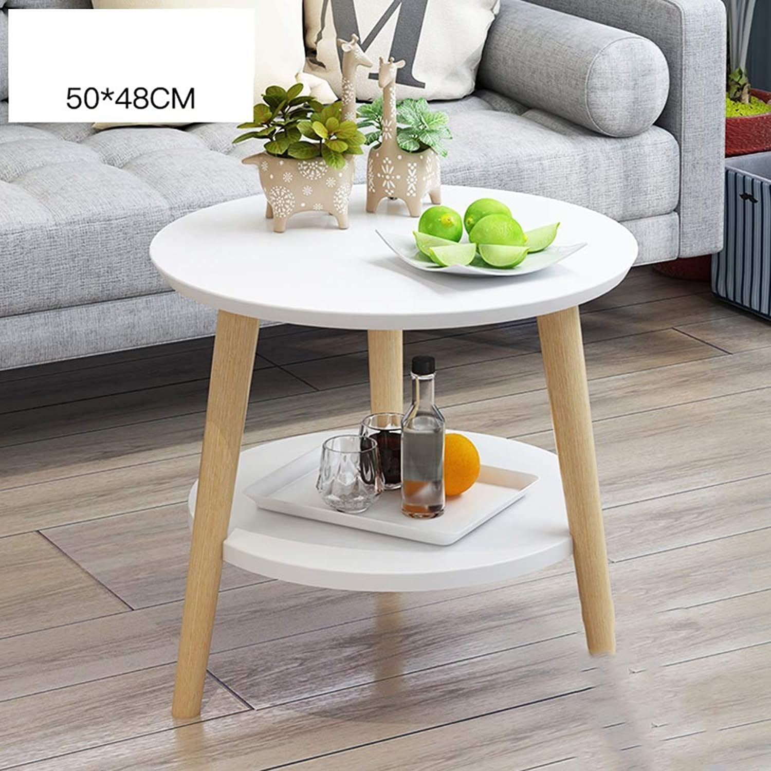 YNN Small Coffee Table Small Round Table Solid Wood Simple Leisure Bay Window Table (color   White, Size   50cm)