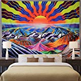 Hippie Sun Tapestry Trippy Mountain Tapestry Psychedelic Waves Tapestry Colorful Bohemian Sunrise Landscape Tapestry Wall Hanging for Bedroom W59×H51