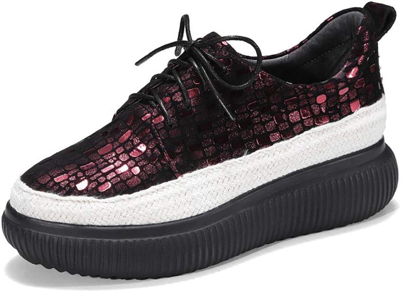 HRN Frauen Lederschuhe dicken Boden Mitte Ferse Leder schnüren tiefen Mund einzelne Schuhe Plattform Schuhe Freizeitschuhe,36EU  | Vollständige Spezifikation