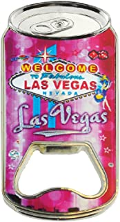 Bottle Opener Magnet Welcome to Las Vegas Souvenir Stainless Steel Bottle Opener and Magnet Pink Color Makes a Great Souvenir Collectible and Gift