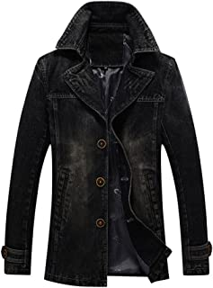 Men`s Vintage Label Collar Denim Jeans Jacket Trench Coat